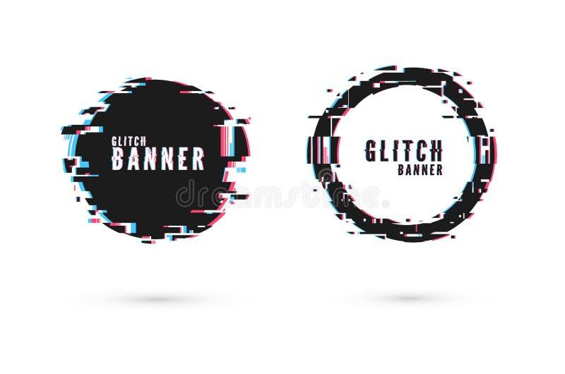 Geometriskt baner med distorsionseffekt - tekniskt fel Cirkelformram Modern affisch- och reklambladmall för Digital teknologi vek royaltyfri illustrationer