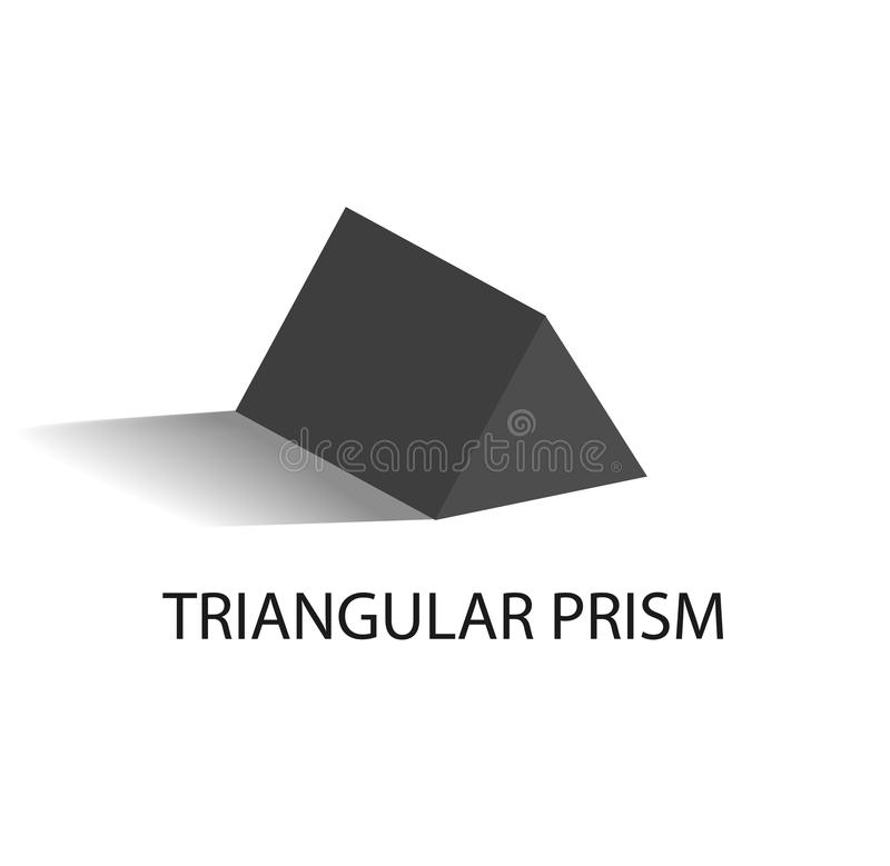 Geometriskt diagram för triangulär prisma i svart färg stock illustrationer