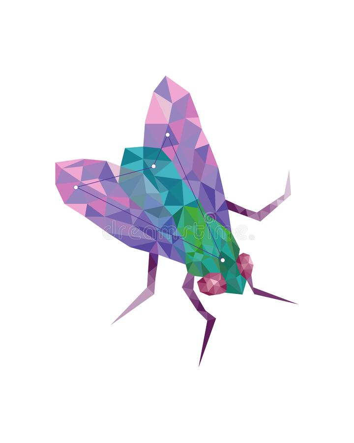 Geometriskt färgrikt diagram konst av den gröna flugan vektor illustrationer