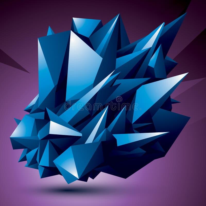 Geometriskt försvårat objekt för abstrakt begrepp 3D, färgrik assymetrisk el vektor illustrationer