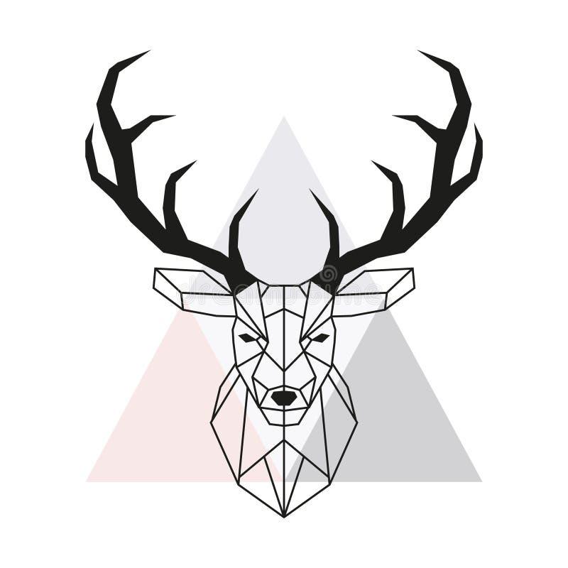 Geometriskt hjorthuvud för vektor Fullvuxen hankronhjorthuvud och horn på kronhjort vektor illustrationer
