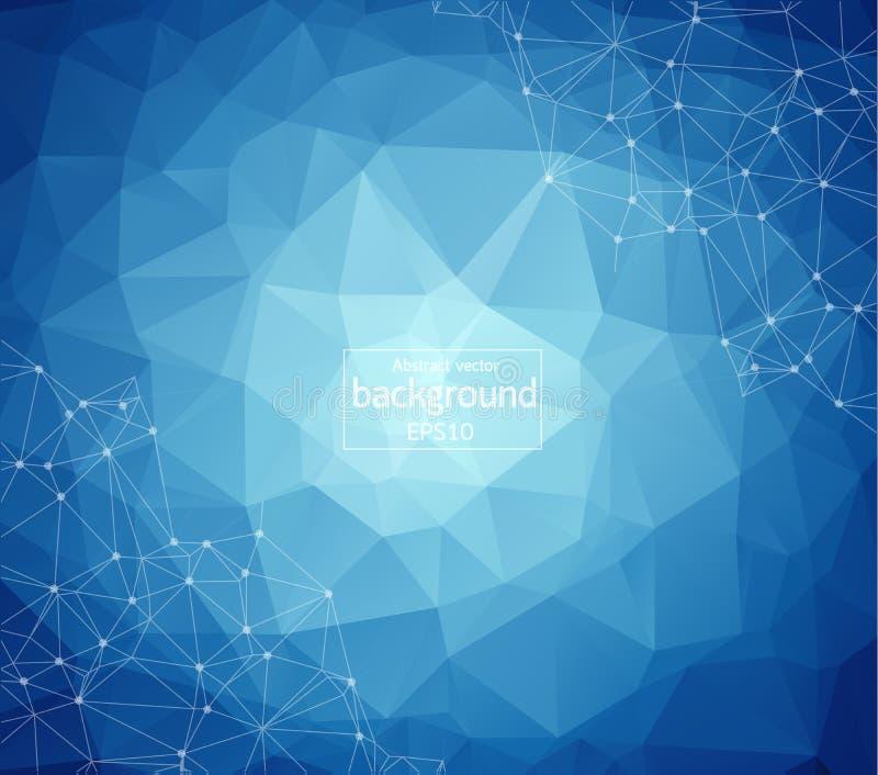 Geometriskt ljus - blå Polygonal bakgrundsmolekyl och kommunikation Förbindelselinjer med prickar Minimalismbakgrund Begrepp av stock illustrationer