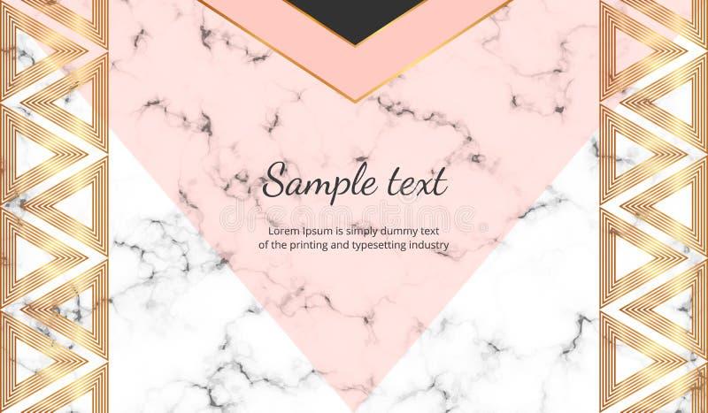 Geometriskt med triangelbanret Modern lyx- och modedesign med marmortextur Horisontalmall för affär, kort, fluga vektor illustrationer