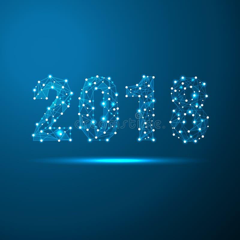 Geometriskt polygonal hälsningkort för nytt år 2018 För teknologiblått för låg poly triangel framtida bakgrund Företags affär vektor illustrationer
