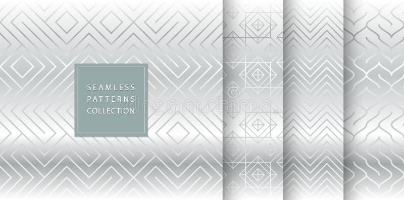 Geometriskt sömlöst försilvrar modellbakgrund Enkelt grått tryck för vektordiagram Upprepa linjen abstrakt texturuppsättning mini vektor illustrationer
