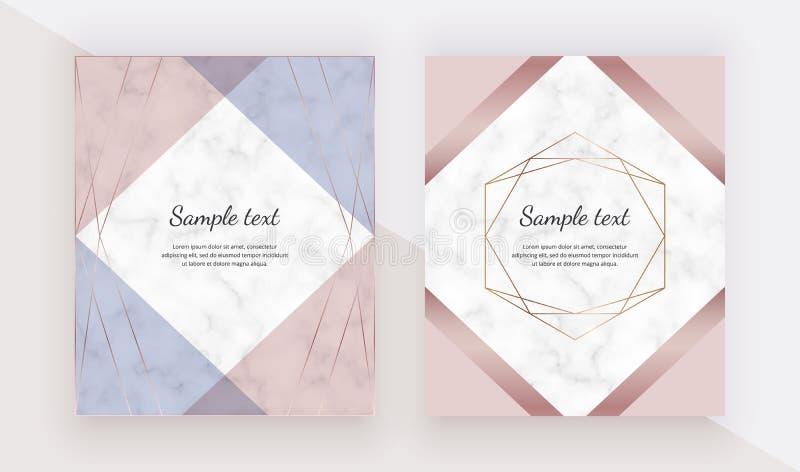 Geometriskt steg guld- designkort med polygonal linjer ramar Moderiktiga mallar för banret, reklamblad, affisch, hälsning royaltyfri illustrationer
