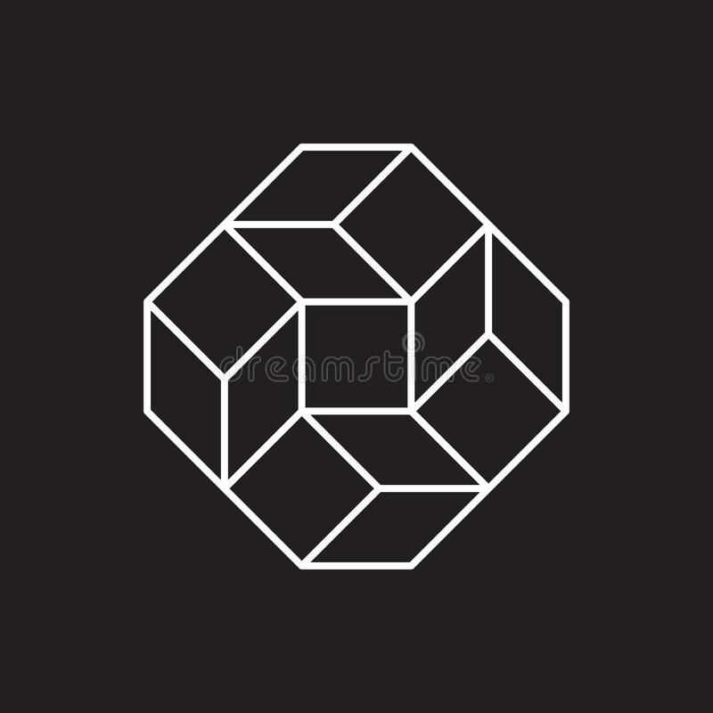 Geometriskt symbol, fyrkant, linje design royaltyfri illustrationer