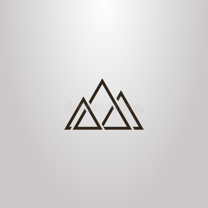 Geometriskt tecken för enkel vektor av triangulära abstrakta maxima av tre berg royaltyfri illustrationer