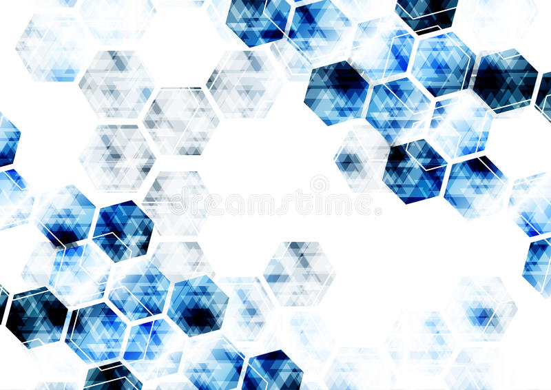 Geometriskt teknologiskt digitalt abstrakt modernt blått sexhörnigt b stock illustrationer