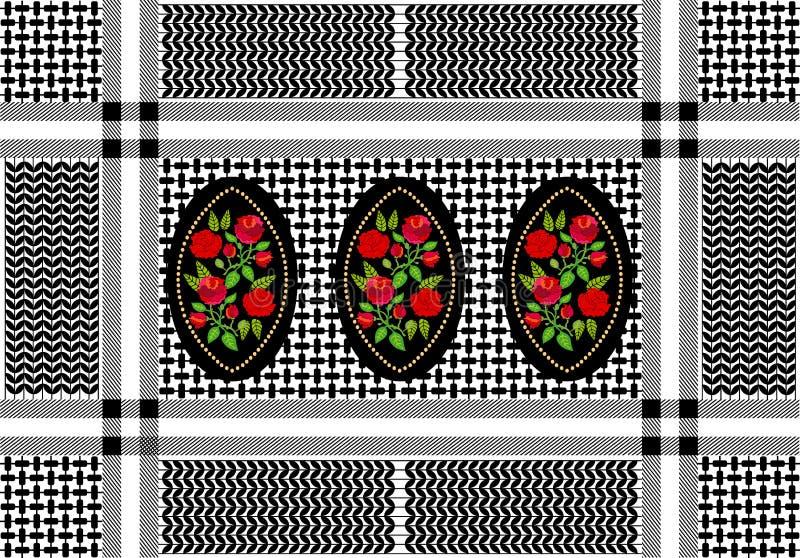 Geometriskt textiltryck med blom- damast beståndsdelar vektor illustrationer