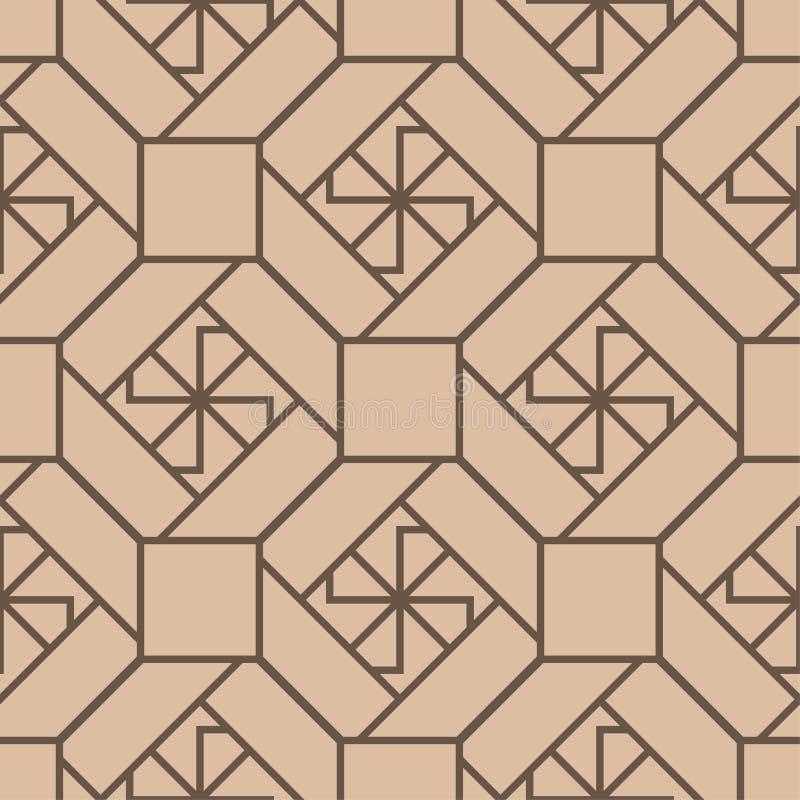 Geometriskt tryck för beiga och för brunt seamless modell stock illustrationer
