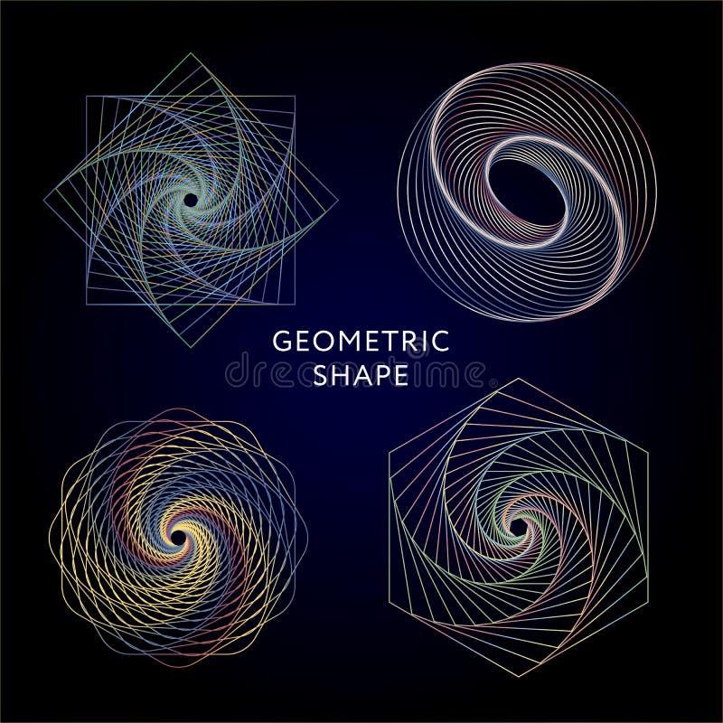 Geometrisymbolsamling hipster abstrakt begrepp, alkemi, negro spiritual, mystikerbeståndsdeluppsättning stock illustrationer