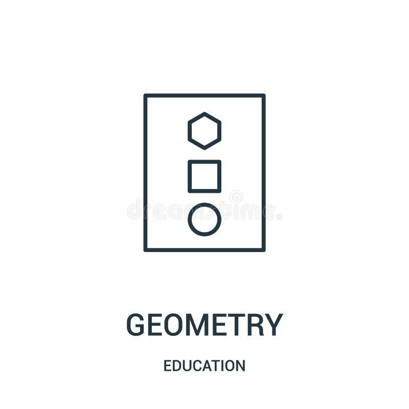 geometrisymbolsvektor från utbildningssamling Tunn linje illustration för vektor för geometriöversiktssymbol stock illustrationer