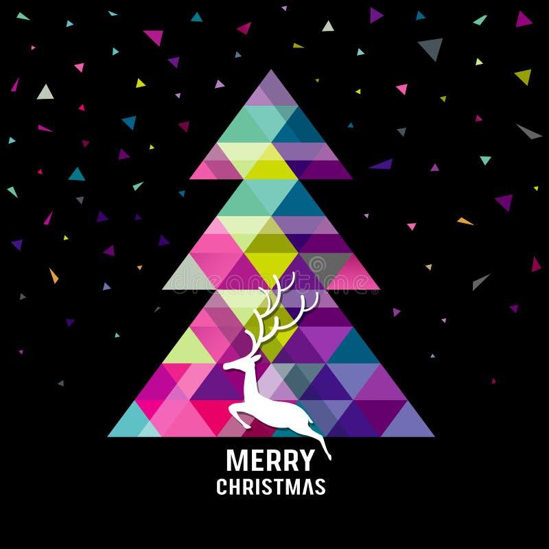 Geometriträd för glad jul med renbegrepp vektor illustrationer