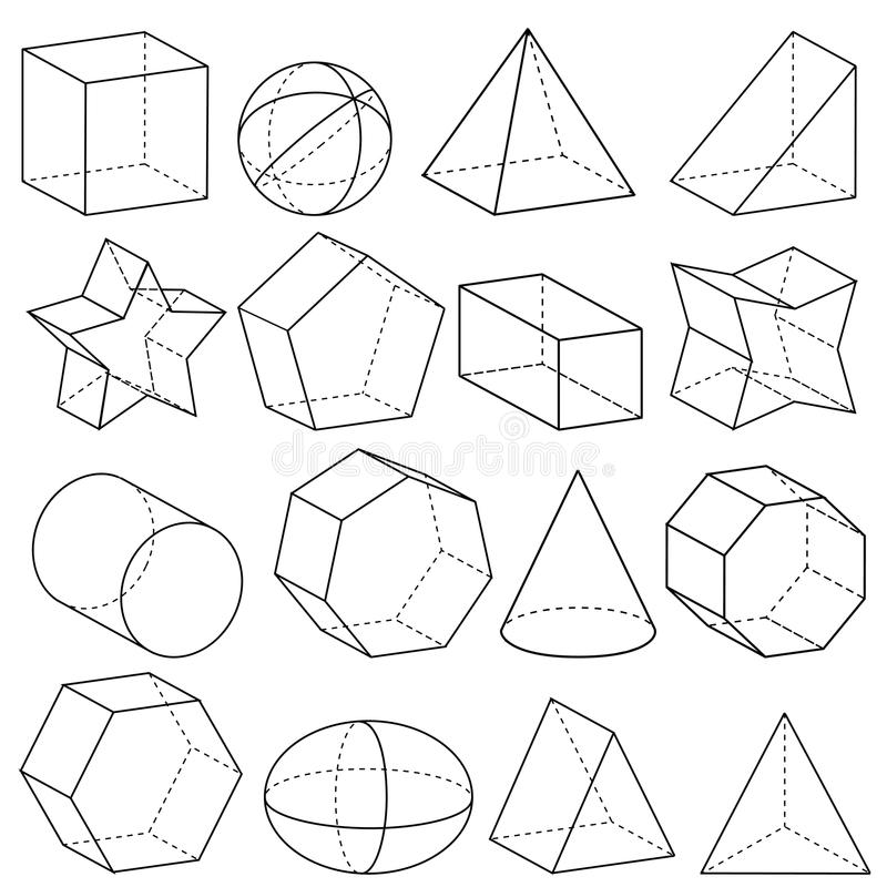 Geometry. Illustration of geometric figures in three dimensions