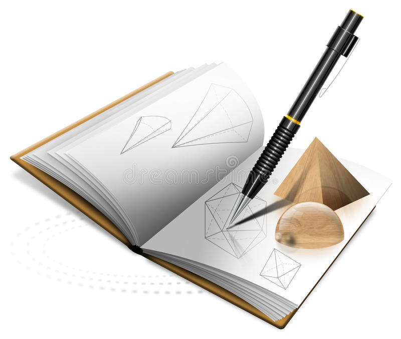 Download Geometry Book and Pencil stock illustration. Image of library - 22790026