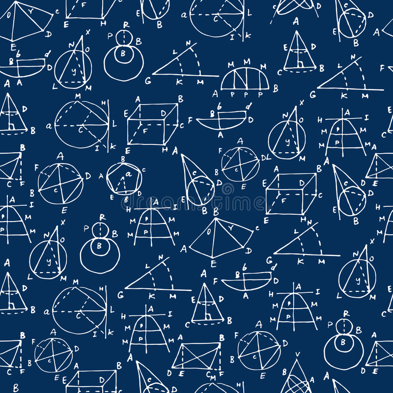 Geometry on chalkboard (seamless vector wallpaper) royalty free stock image