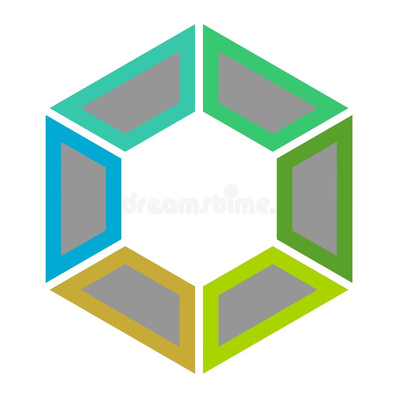 Geometry colorful technology logo, Hexagon element symbol. On white stock illustration