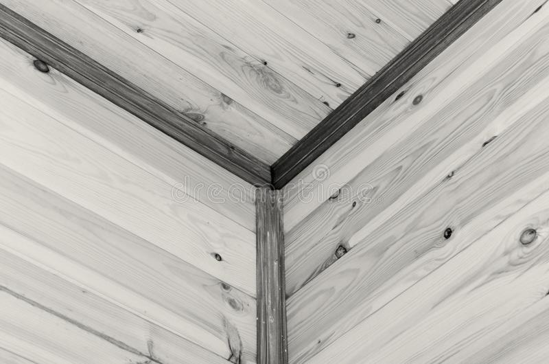 Geometry from eco-friendly wooden ceiling skirting boards. Geometry from eco-friendly wooden ceiling skirting boards royalty free stock photo