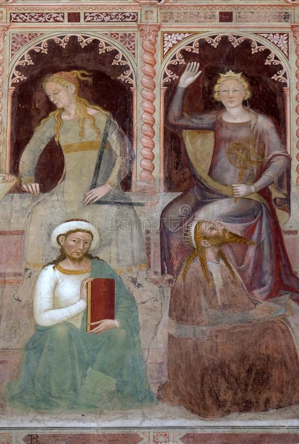 Geometry-Euclid, Astronomy-Ptolemy, fresco i kyrkan Santa Maria Novella i Florence royaltyfri foto