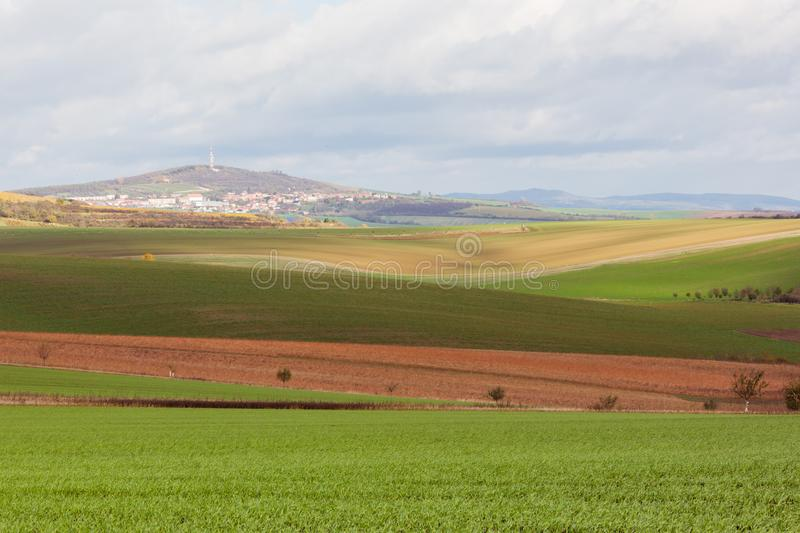Geometry of fields. Autumn in Moravia royalty free stock image