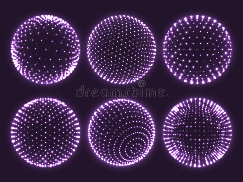 Geometry grid 3d sphere, atom orb, science chart of particles or virtual reality ball icon. Abstract spheres vector set royalty free illustration