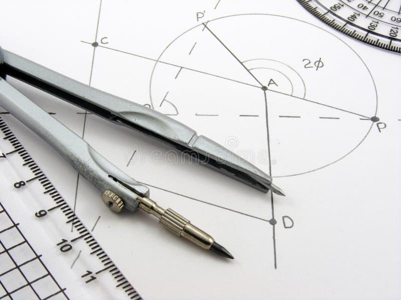 Geometry image with diagram & utensils stock image