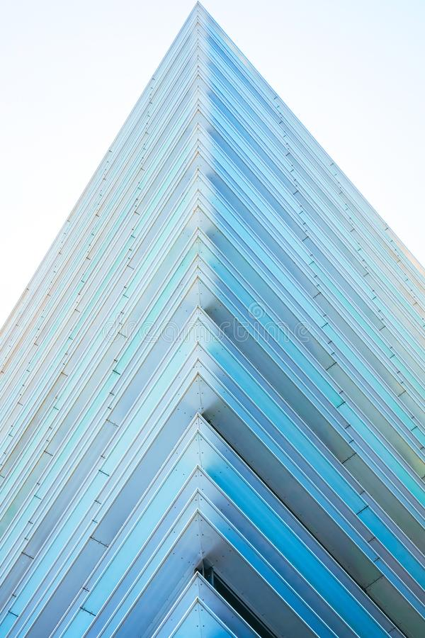 Geometry of modern futuristic steel and glass skyscraper architecture royalty free stock images