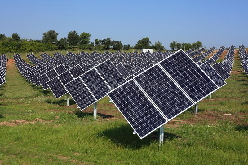Geometry of photovoltaic panels stock images