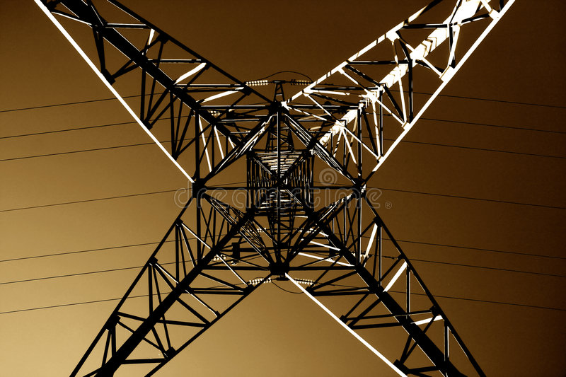Geometry of Power line, detailed stock image