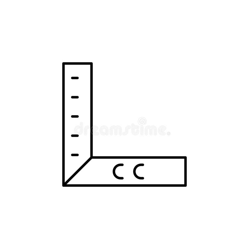 geometry, ruler icon. Simple thin line, outline vector of Construction tools icons for UI and UX, website or mobile application stock illustration