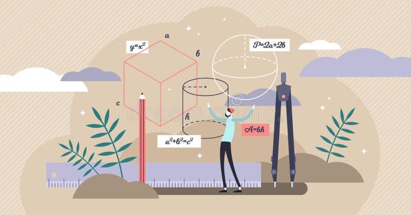 Geometry vector illustration. Flat tiny mathematics study persons concept. royalty free illustration