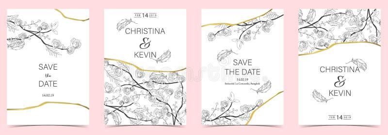 Geometry white,black,gold outline wedding invitation card stock illustration
