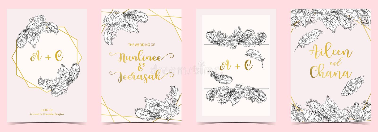 Geometry white,black,gold outline wedding invitation card with r vector illustration