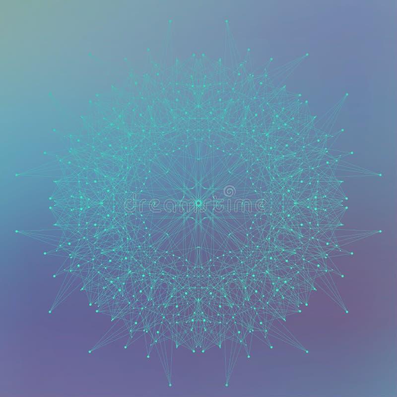 Geometryczna abstrakt forma z związanymi liniami i kropkami również zwrócić corel ilustracji wektora ilustracja wektor