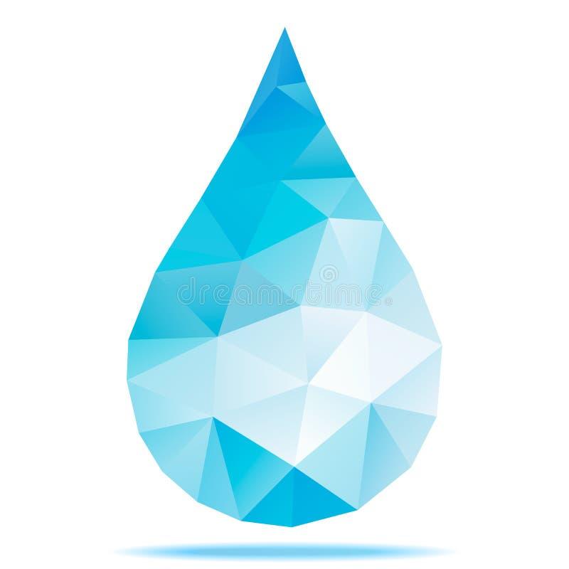 Geometryczna błękit kropla, Poligonalny projekt ilustracja wektor