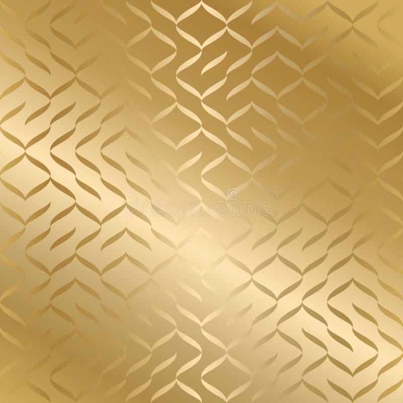 Geometryczna bezszwowa złota tekstura Złocisty opakunkowego papieru wzoru tło Prosty luksusowy graficzny druk Wektorowa wielostrz ilustracja wektor