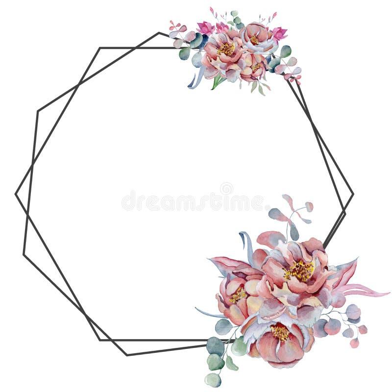 Geometryczna botaniczna projekt rama Dzicy kwiaty, peonie, anemon, liście i ziele, ilustracja wektor
