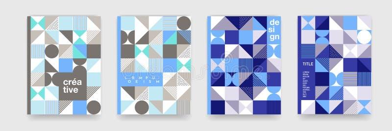 Geometryczna deseniowa tło tekstura dla plakat pokrywy projekta Minimalny trójbok, okrąg, kwadratowy błękit, siwieje koloru sztan ilustracja wektor