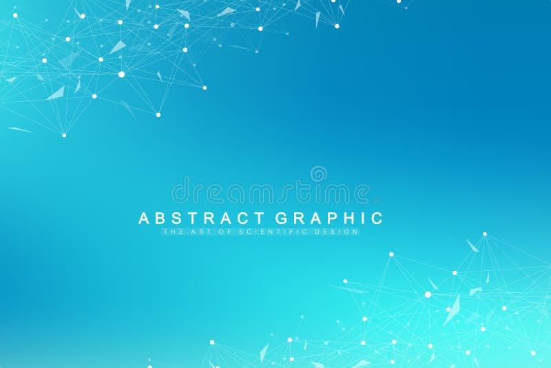 Geometryczna graficzna tło molekuła, komunikacja i Duży dane kompleks z mieszankami Perspektywiczny tło minimalizm royalty ilustracja