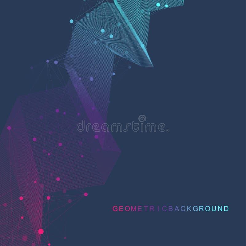 Geometryczna graficzna tło molekuła, komunikacja i Duży dane kompleks z mieszankami Perspektywiczny tło minimalizm ilustracja wektor