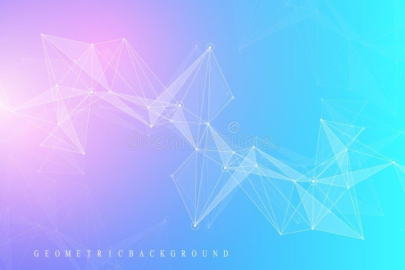 Geometryczna graficzna tło molekuła, komunikacja i Duży dane kompleks z mieszankami Perspektywiczny tło minimalizm ilustracji