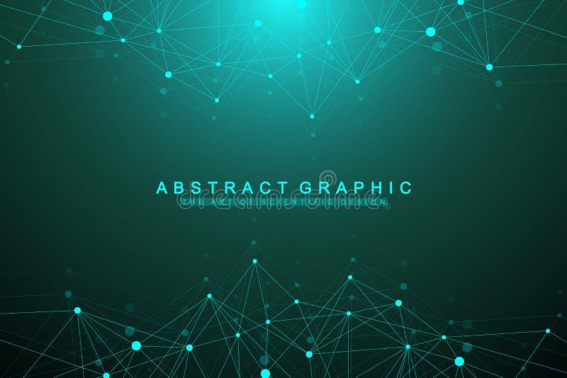 Geometryczna graficzna tło molekuła, komunikacja i Duży dane kompleks z mieszankami Sztuczna inteligencja i ilustracji