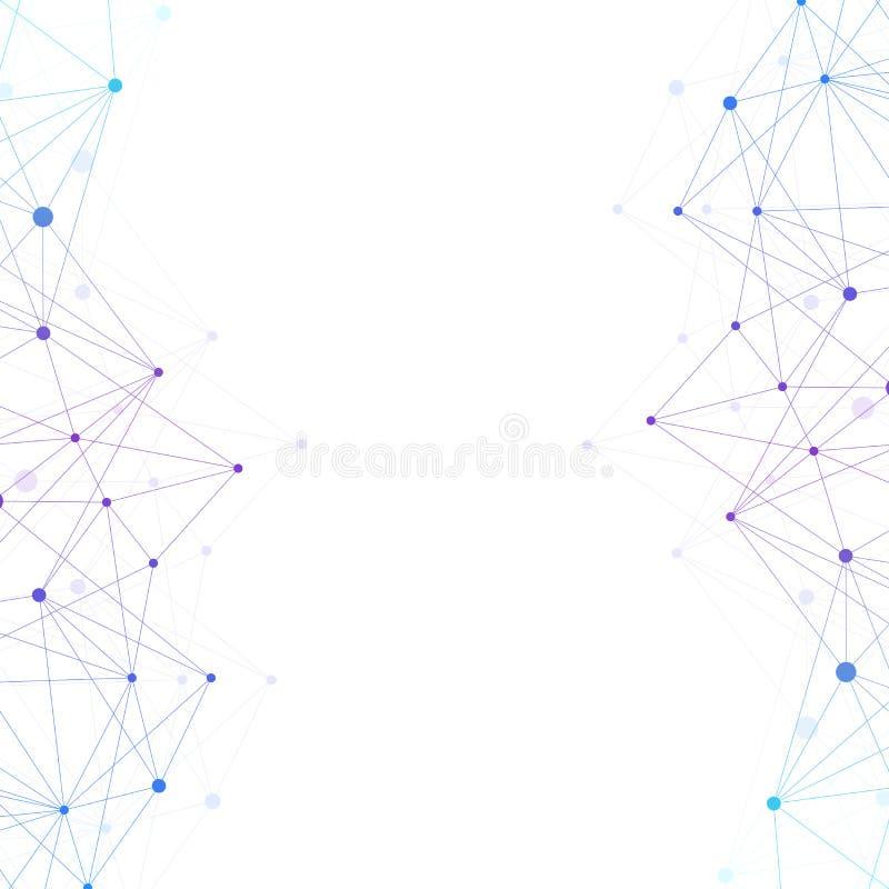 Geometryczna graficzna tło molekuła, komunikacja i Duży dane kompleks z mieszankami Wykłada plexus, minimalny szyk royalty ilustracja