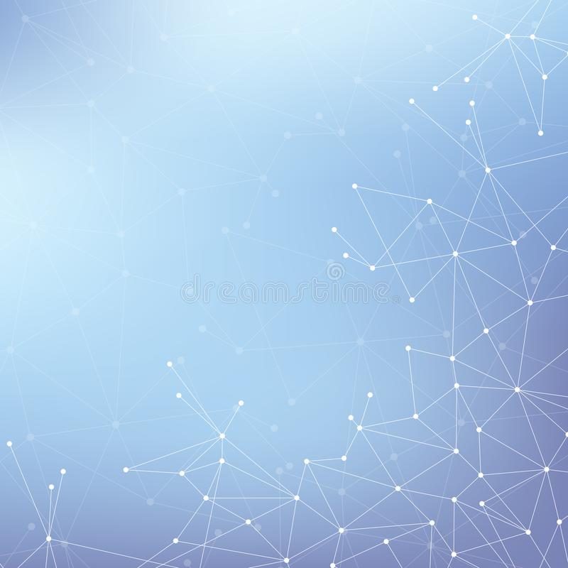 Geometryczna graficzna tło molekuła, komunikacja i Duży dane kompleks z mieszankami Wykłada plexus, minimalny szyk ilustracja wektor