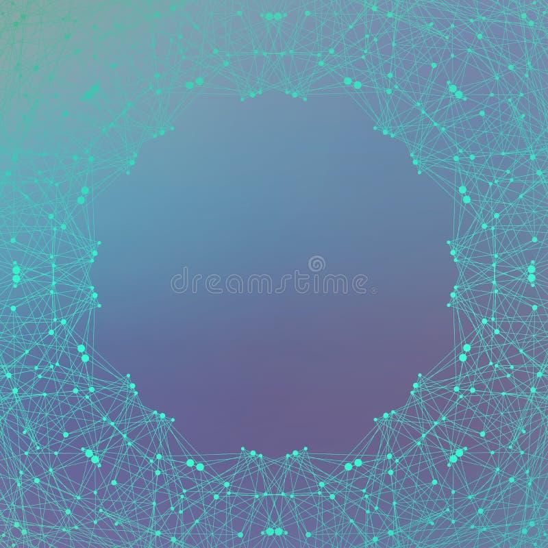 Geometryczna graficzna tło molekuła, komunikacja i Duży dane kompleks z mieszankami Wykłada plexus, minimalny szyk ilustracji