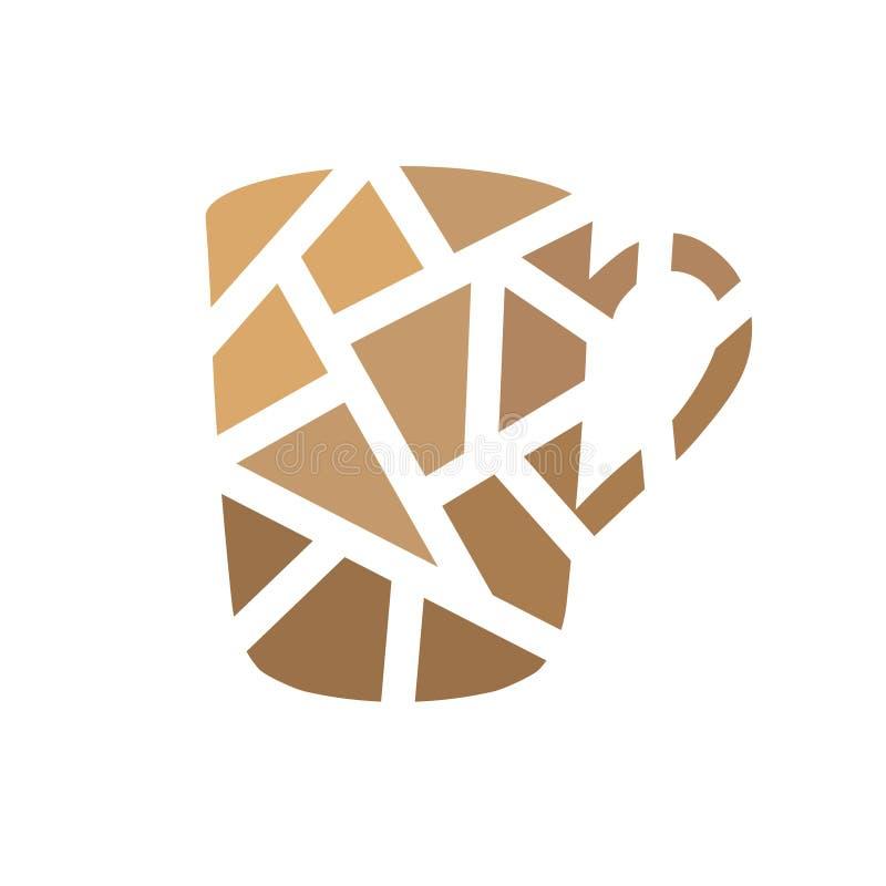 Geometryczna ikona filiżanki kawy royalty ilustracja
