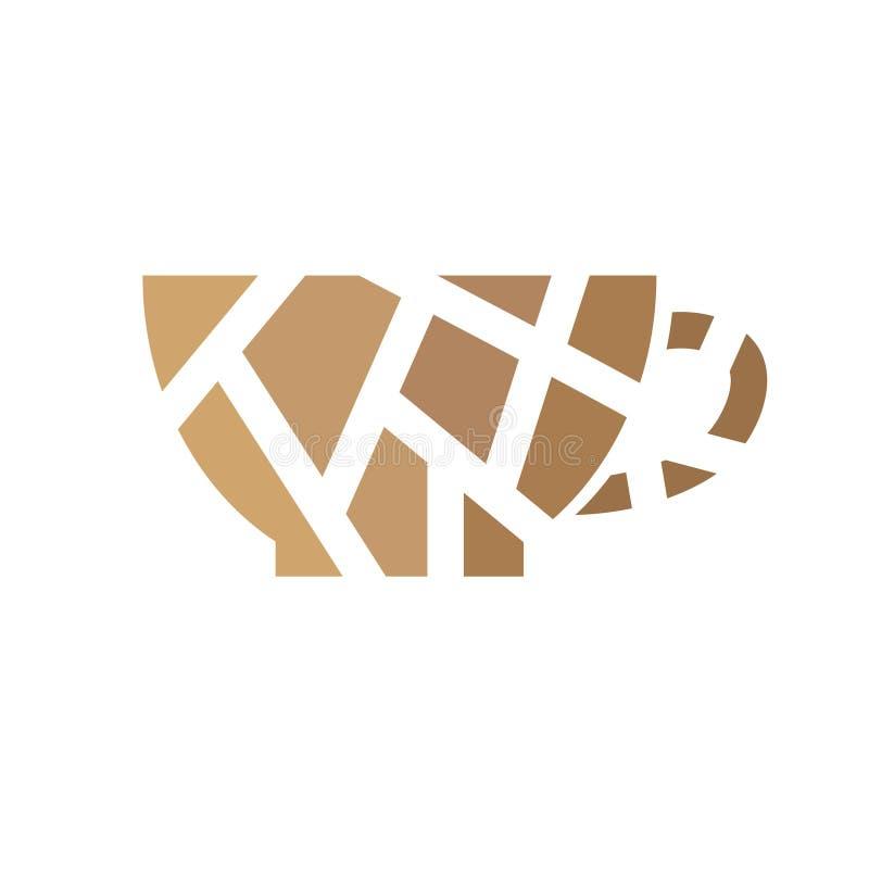 Geometryczna ikona filiżanki kawy ilustracji
