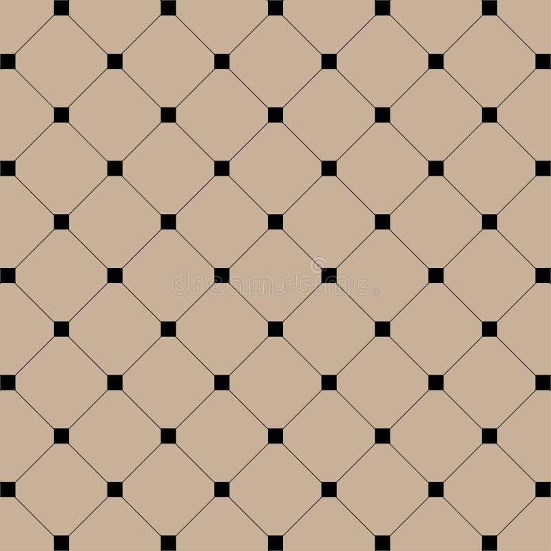 Geometryczna ilustracja Czarni kwadraty z liniami na brawn tle abstrakcjonistycznego tła ilustraci wzoru bezszwowy wektor ilustracji