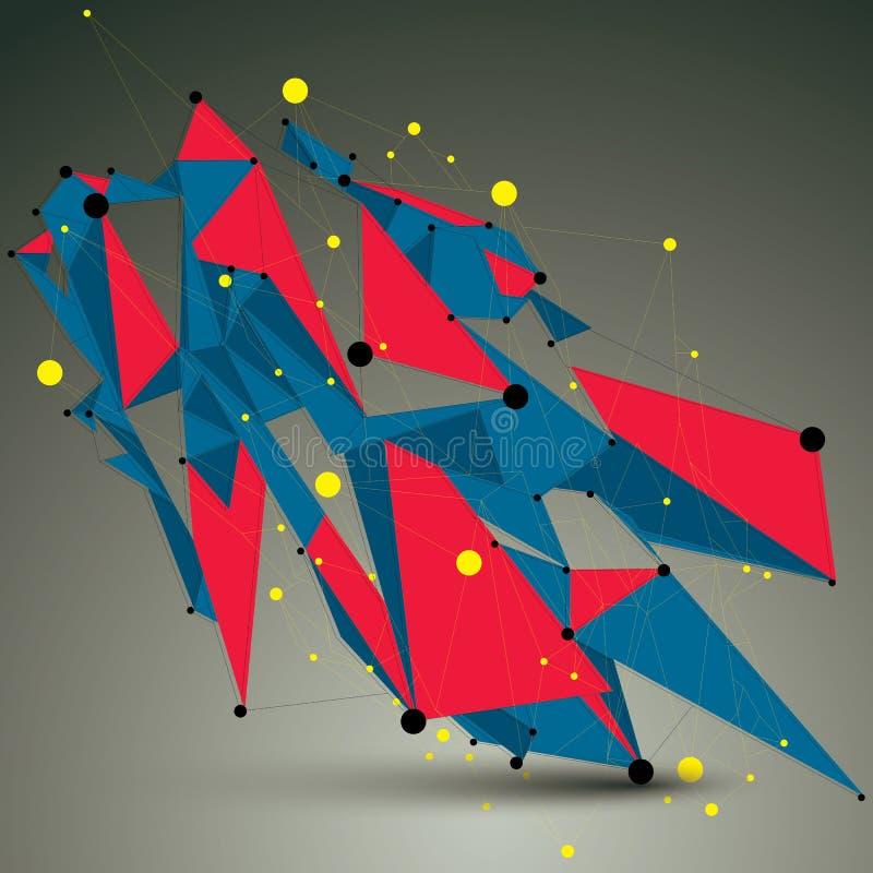 Geometryczna jaskrawa poligonalna struktura z linii siatką, wektor royalty ilustracja